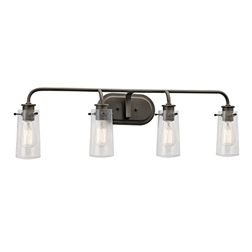 Kichler 45460OZ Braelyn 4-Light Vanity Fixture and Clear Seedy Glass, Olde Bronze Finish