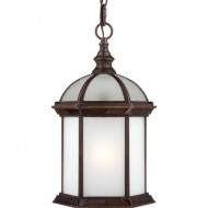 Nuvo Lighting 60/4998 Boxwood Energy Star One Light Hanging Lantern Bulb Included Frosted Glass Rustic Bronze Outdoor Fixture