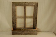 Barnwood Window Frame Planter. This Is Crafted with Century Old Weathered Barnwood Which Enhances the Beauty of the Flower Box. Cherish Natures Work of Art and Rustic Appeal for Years to Come. Measures: 19 1/2″ X 24″.