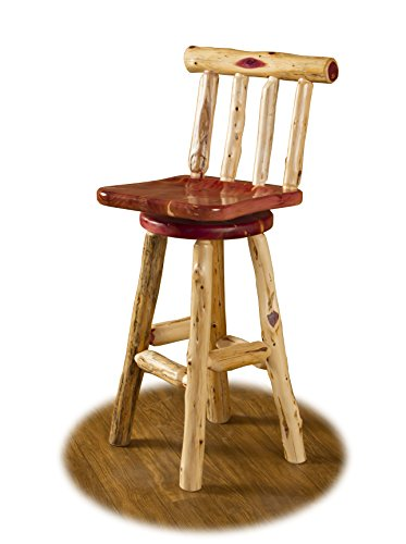 Rustic Red Cedar Log SWIVEL BAR STOOL WITH BACK – COUNTER HEIGHT