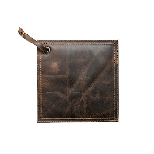 Rustic Leather Hot Pot Pad (Potholder), Double Layered, Double Stitched and Handmade by Hide & Drink :: Bourbon Brown
