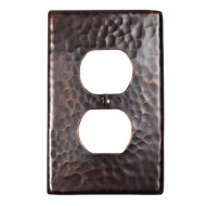 The Copper Factory CF122AN Solid Hammered Copper Single Duplex Receptacle Plate, Antique Copper Finish