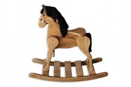 FireSkape Medium Deluxe Amish Crafted Solid Oak Natural Finished Rocking Horse with Black Mane