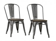 DHP Fusion Dining Chair with Wood Seat (Set of 2), Antique Gun Metal