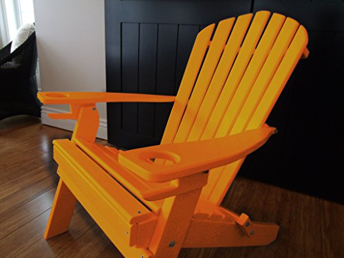 NEW DELUXE 7 SLAT ORANGE Poly Lumber Wood Folding Adirondack Chair WITH OTTOMAN- Amish Made USA