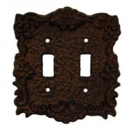 Rustic Brown Cast Iron Double Switch Cover Plate