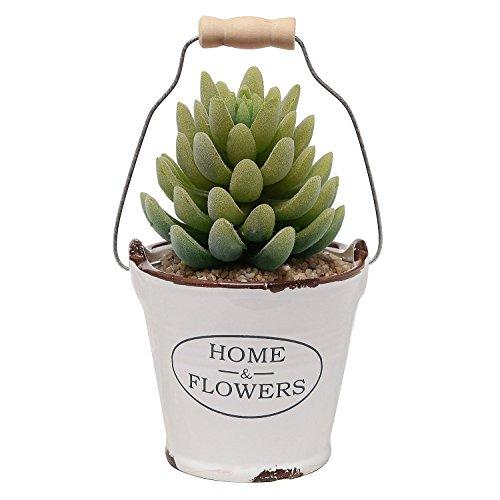 Country Rustic White Ceramic Bucket Pail Design Succulent Planter / Mini Flower Pot / Pencil Holder