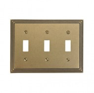 Amerelle 84TTTRB Steps Cast Metal Triple Toggle Wallplate, Rustic Brass
