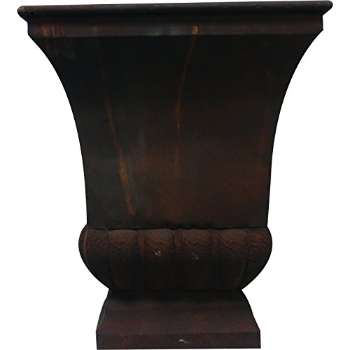 Gardman 8225 Large Rustic Metal Urn Planter, 15.75″ Long x 15.75″ Wide x 18″ High