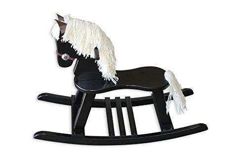 FireSkape Amish Crafted Solid Maple Black Finished Pony Rocking Horse with White Mane