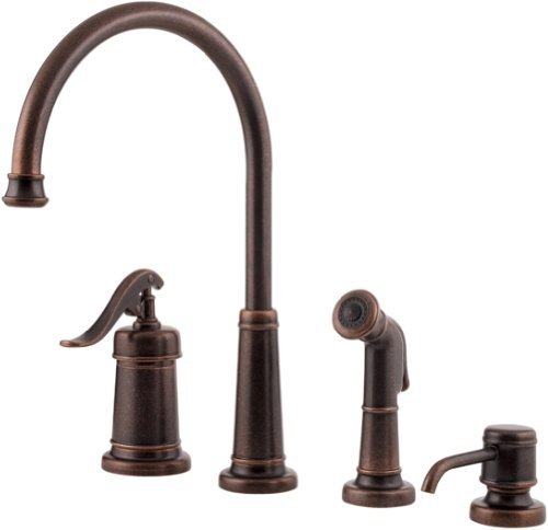 Pfister GT26-4YPU GT26-4YPU Ashfield Single Handle Kitchen Faucet with Side Spray and Soap Dispenser, Rustic Bronze