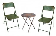 NACH th-F4920AG-SET Rustic Bistro Chairs and Table Set, Green
