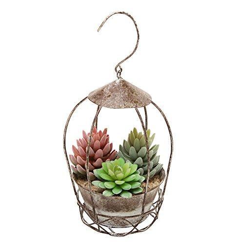 Rustic Style Freestanding / Hanging Brown Metal Flower Plant Pot Rack / Display Planter – MyGift
