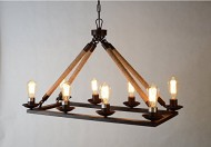 Rope Filament Rectangular Chandelier Jute 39 Inches Rustic Iron Finish Pendant Prestigious (8 Lights Chain)