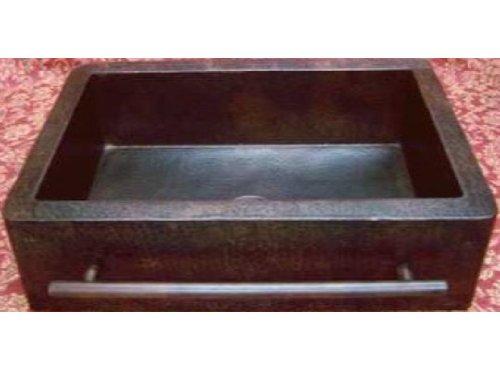Farmhouse Apron Copper Sink With Integrated Towelbar – Dark – Standard 33″x22″x9″