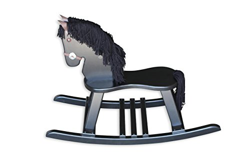 FireSkape Amish Crafted Solid Maple Black Finished Pony Rocking Horse with Black Mane