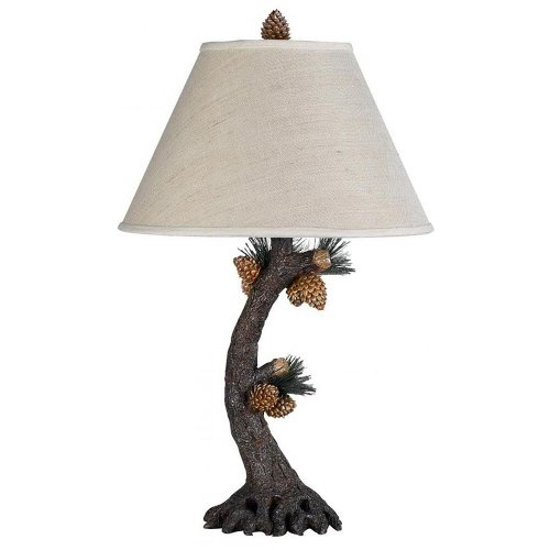 Cal Lighting BO-261 Pinecone Table Lamp Fixture in Evergreen