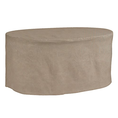 Budge English Garden Oval Patio Table Cover P5A20PM1, Tan Tweed (28 H x 72 L x 42 W)
