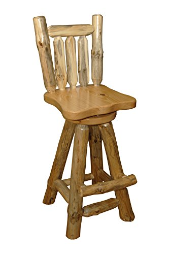 Rustic Pine Log Swivel Pub Chair – Amish Made in USA (Clear Varnish, Bar Height (30″))