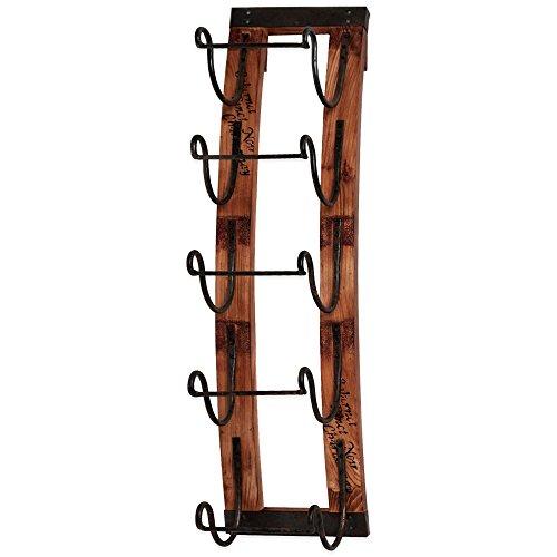 5-bottle Rustic Vineyard Aged Wood Slates Hanging Wine Rack