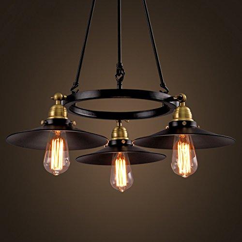 SEOL-LIGHT Factory Filament Chandeliers with 3 light Black Metal Shape ,Max 180W Flush Mount Fixture,Dinning Table,Bar,Foyer