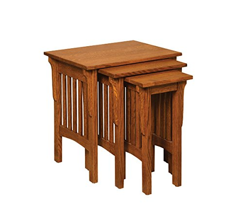 Amish Heirlooms Solid Oak Mission Nesting Table Set, 17″ x 23″ x 24″, Cappuccino Finish