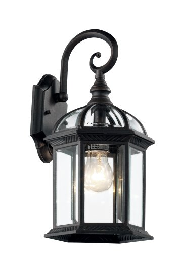 Trans Globe Lighting 4181 BK 15-3/4-Inch 1-Light Outdoor Wall Lantern, Black