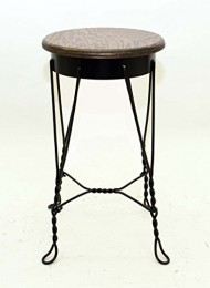 Wrought Iron Ice Cream Parlor Stool, Medium-20.25 Inches High x 11 3/8 Inch Diameter Seat. Oak Veneer Top.