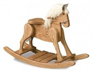 FireSkape Small Deluxe Amish Crafted Solid Oak Natural Finished Rocking Horse with White Mane