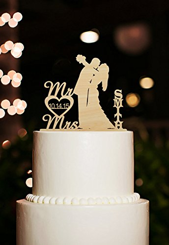 Rustic Mr and Mrs Bride and Groom Kiss Silhouette Personalized Name Wedding Cake Toppers