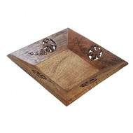 Mothers Day Gifts Rustic Wooden Square Serving Tray – 8.25″ – Fruit Platter – Handcrafted Kitchen Serveware Accessories