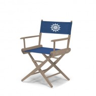 Telescope Casual World Famous Dining Height Director Chair, Rustic Grey Finish with Marine Blue and White Motif Cover