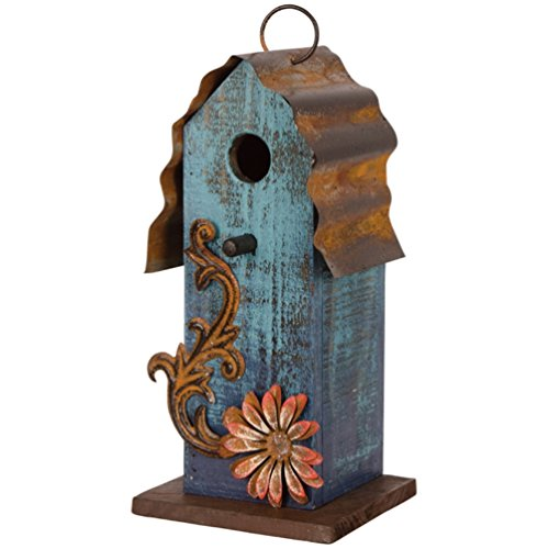 Carson – Aqua Blue w/ Red Flower Wood & Tin Roof 10″ Hanging Birdhouse