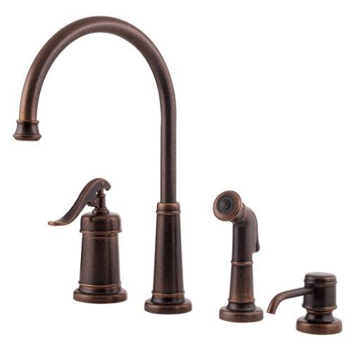 Pfister T26-4YPU Ashfield Rustic Bronze 4 Hole Kitchen Faucet