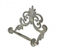 Fleur De Lis Cast Iron Toilet Paper Roll holder | Cast Iron Wall Mounted Toilet Tissue Holder | European Vintage Design | 7.9×4.3×6.3″ | With Screws And Anchors by Comfify (Antique White)