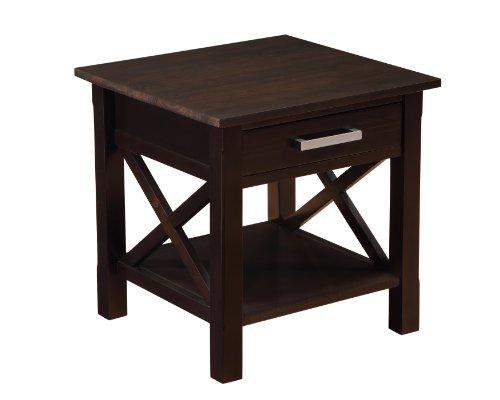 Simpli Home Kitchener End Table, Dark Walnut Brown
