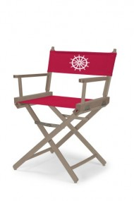 Telescope Casual Heritage Dining Height Director Chair, Rustic Grey Finish with Marine Red and White Motif Cover