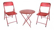NACH th-4638-SETRD Folding Bistro Set Including Table & Chairs, Red