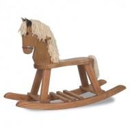 FireSkape Amish Crafted Solid Oak Natural Finished Pony Rocking Horse with White Mane
