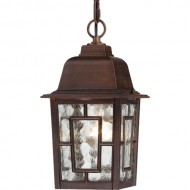 Nuvo Lighting 60/4932 Banyon One Light Hanging Lantern 100 Watt A19 Max. Clear Water Glass Rustic Bronze Outdoor Fixture
