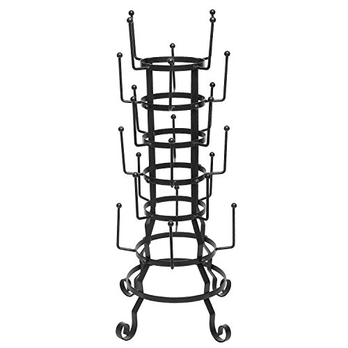 MyGift® Vintage Rustic Black Iron Mug / Glass / Cup / Bottle Hanger Hooks Drying Rack Organizer Stand