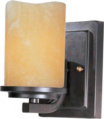 Maxim Lighting 21141SCRE One Light Rustic Ebony Stone Candle Glass Wall Light, Black