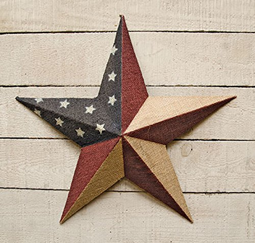 Burlap Americana Barn Star – 18″ Dimensional Metal Americana Flag Star – Primitive Country Rustic