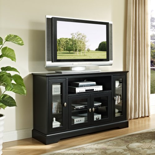 WE Furniture 52-Inch Highboy Style Wood TV Stand, Black