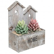 Rustic Finish Wood Bird House Design Divided Plant Pot Holder / Free Standing Decor Display Box