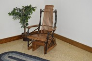 Rustic Hickory & Oak Gliding Rocker *Walnut Stain* Amish Made USA
