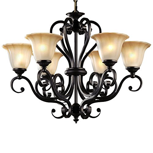 LNC Antique Finish Black Iron 6 Lights Rustic Chandelier Lighting Glass Shade D28-Inch by H22-Inch