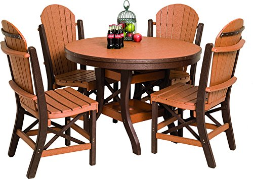 Poly Lumber Patio Furniture Set Including 1 Round Table (44″) and 4 Chairs in Weathered Wood & Patriot Blue – Amish Made in USA