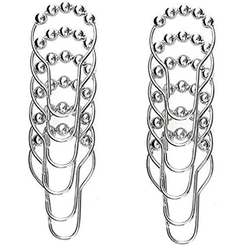 Goodbath Stainless Steel Shower Curtain Hooks, Nickel Plated, Set of 12 Rings