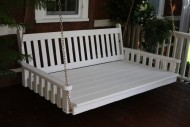 Outdoor 6′ Traditional English Swing Bed – Oversized Porch Swing – PAINTED- Amish Made USA -Olive Gray